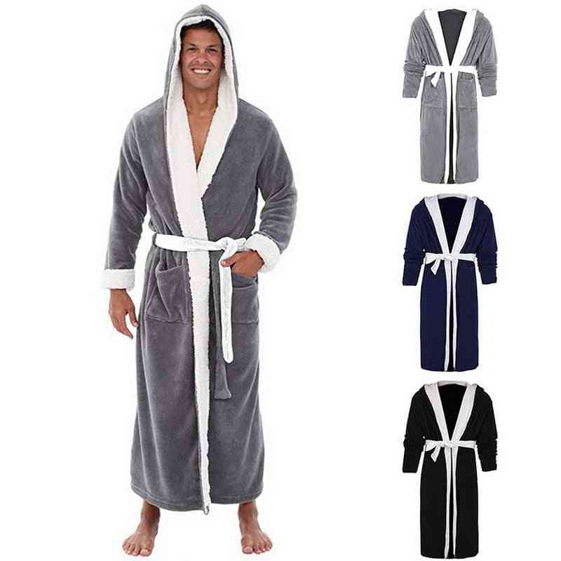 Man Winter Plus Size Coral Fleece Bathrobe, Warm Flannel Cozy Robes, Night Sleepwear Pajamas