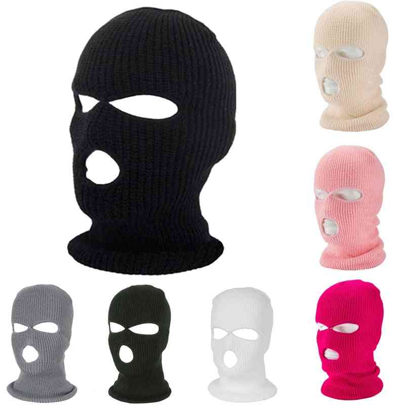 Full Face Cover Mask 3 Hole, Balaclava Knit Hat, Army Tactical Winter Ski Cycling Beanie Hat Scarf, Warm