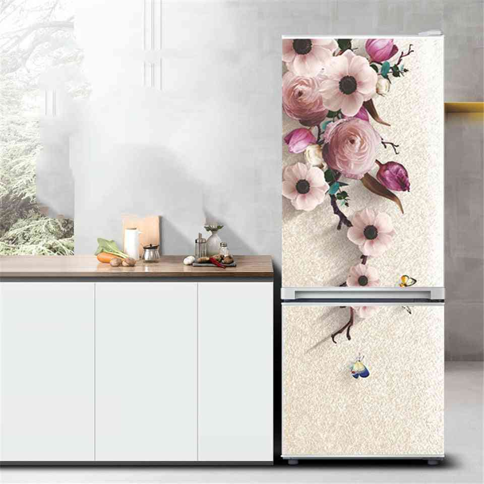 Flower Refrigerator Sticker, Pvc Peel And Stick Wallpaper Kitchen Fridge