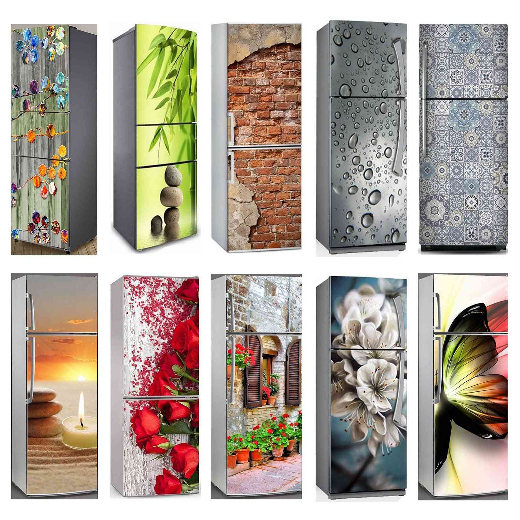 3d Self Adhesive Fridge Door Cover Wallpaper