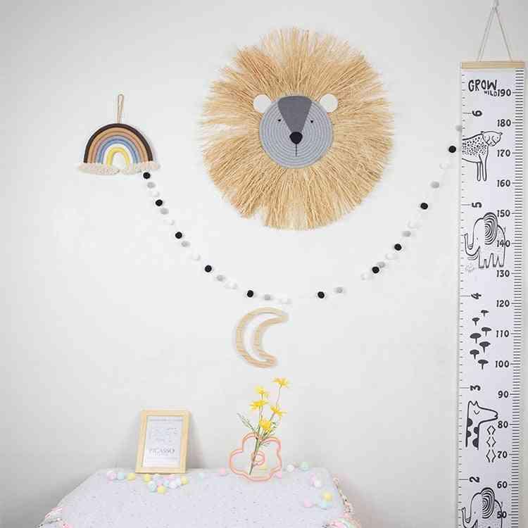Nordic Hand Woven Cartoon Lion Hanging Decorations