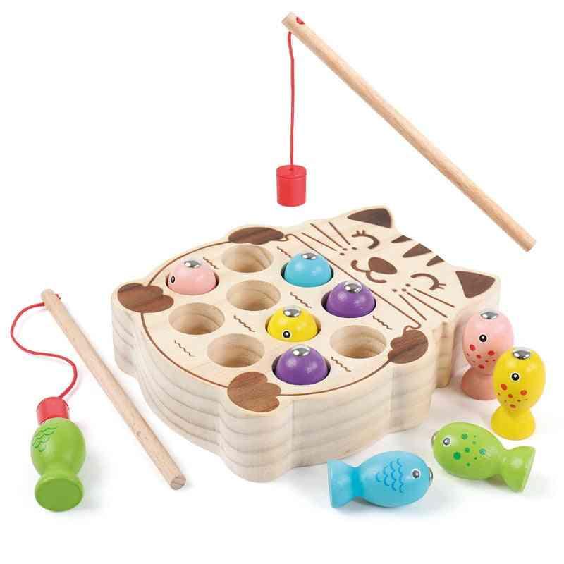 Kids Wooden Montessori Magnetic Kitten Fishing