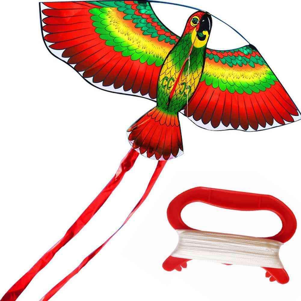 Rainbow Color Parrot Kite With String Plastic Handle  (white)