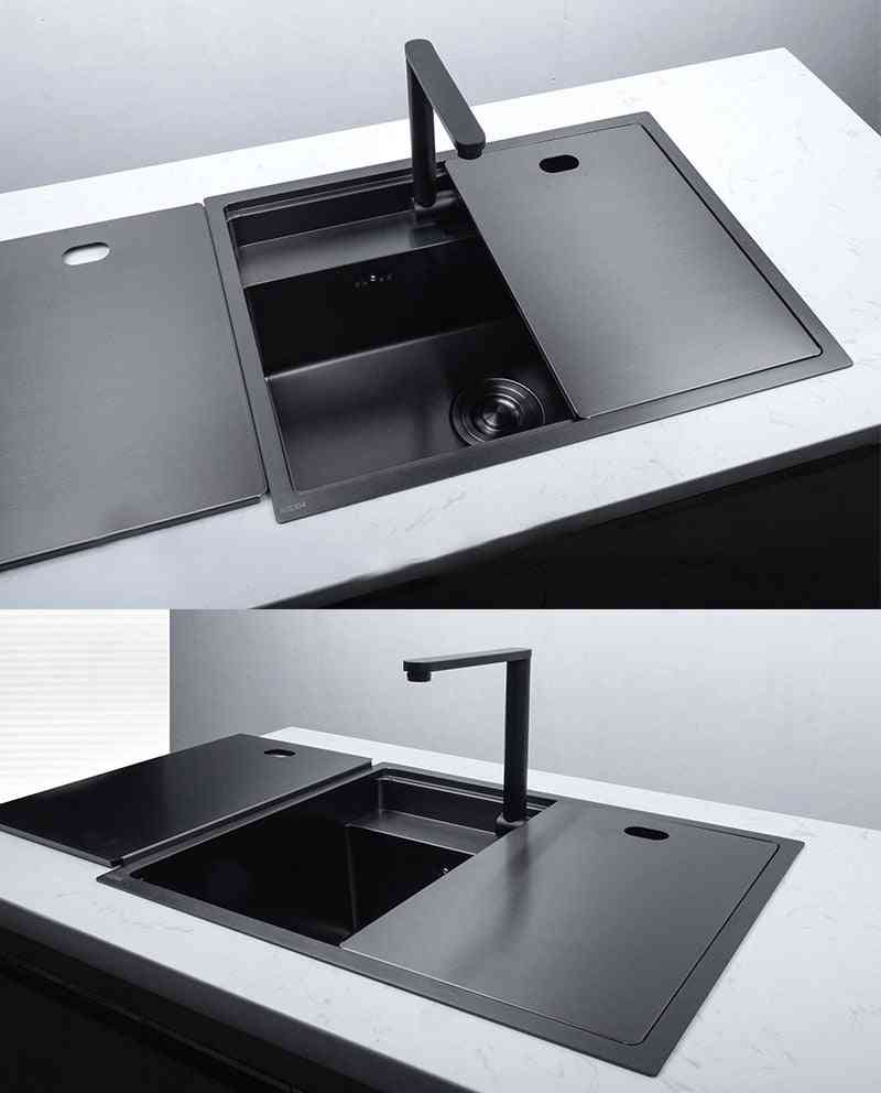 Hidden Kitchen Sinks With Folded Faucet, Stainless Steel Double Bowl, Above Bar, Counter Undermount Laundry Sink