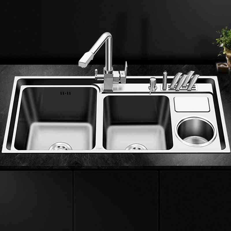 Stainless Steel Nano Sink, Three Trough With Trash Can, Knife Holder, Brushed Silver Set Kitchen
