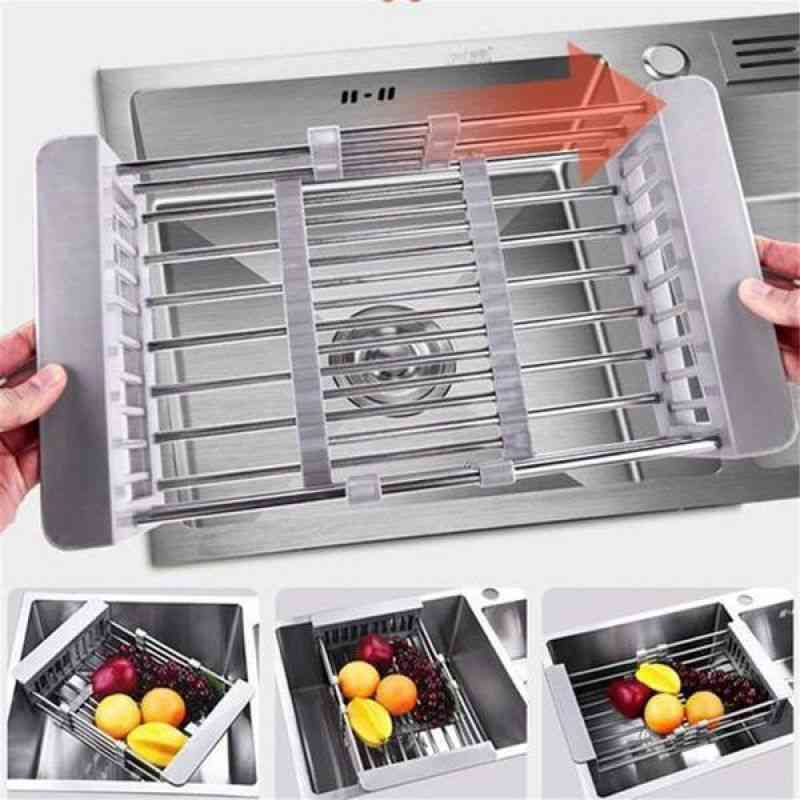 Kitchen Retractable Drainer Rack, Water Filter Drain Basket, Stainless Steel, Dish Counter