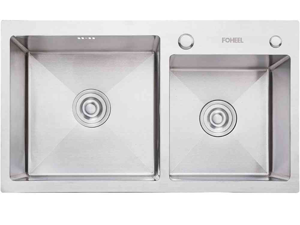 Kitchen Sink Double Bowl, Drain Basket And Pip, Rectangular, Stainless Steel