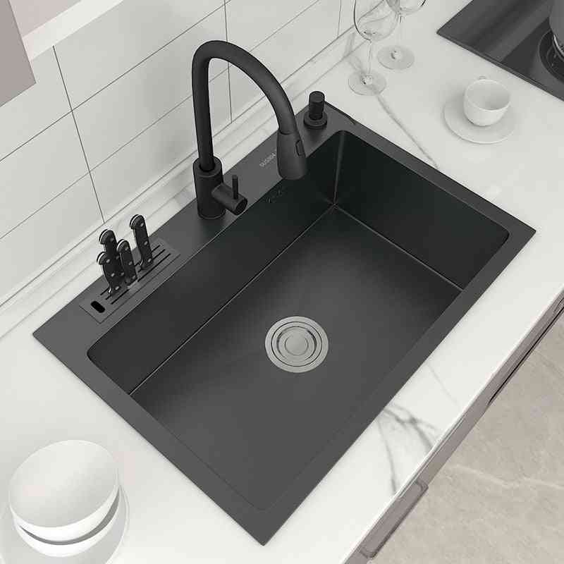 Stainless Steel Topmount Kitchen Sink, With Knife-holder, Multifunction, Single Bowl, Wash Basin Fixture