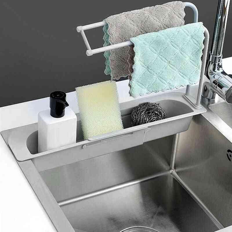 Kitchen Sink Drain Rack, Creative Pp Gel Drainage, Tableware, Sponge Soap Drying, Telescopic Holder Storage Basket