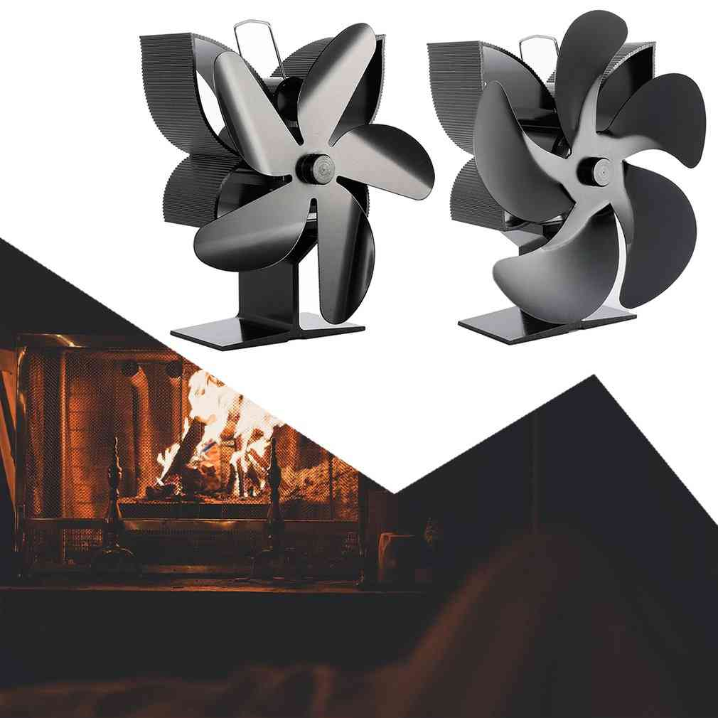 Black Thermal Power Five Blades Fireplace Heating Fan Safe