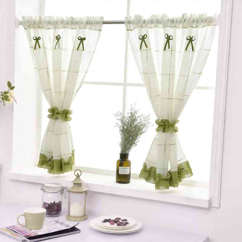 American Coffee Curtain With Short Window Curtain Valance For Home Decor