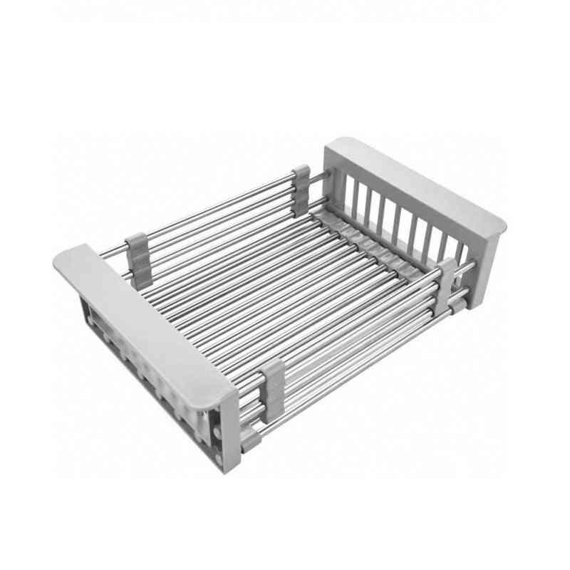 Adjustable Stainless Steel Drain Basket Kitchen Sink Organizer (silver)