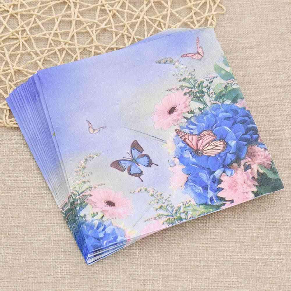 20ps Butterfly Flower Paper Napkins Serviette Tissue