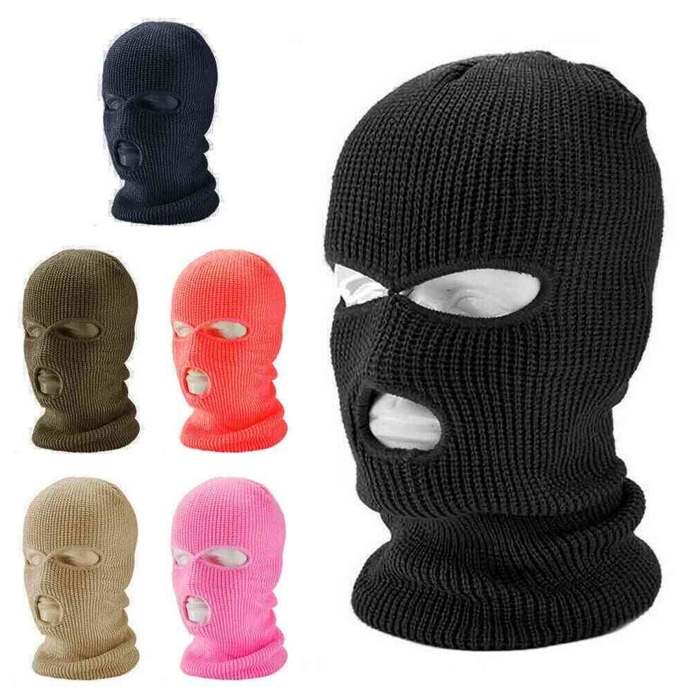 Full Face Cover Mask Three Hole Balaclava Knit Hat Army Tactical Cs Winter Ski Cycling Beanie Scarf