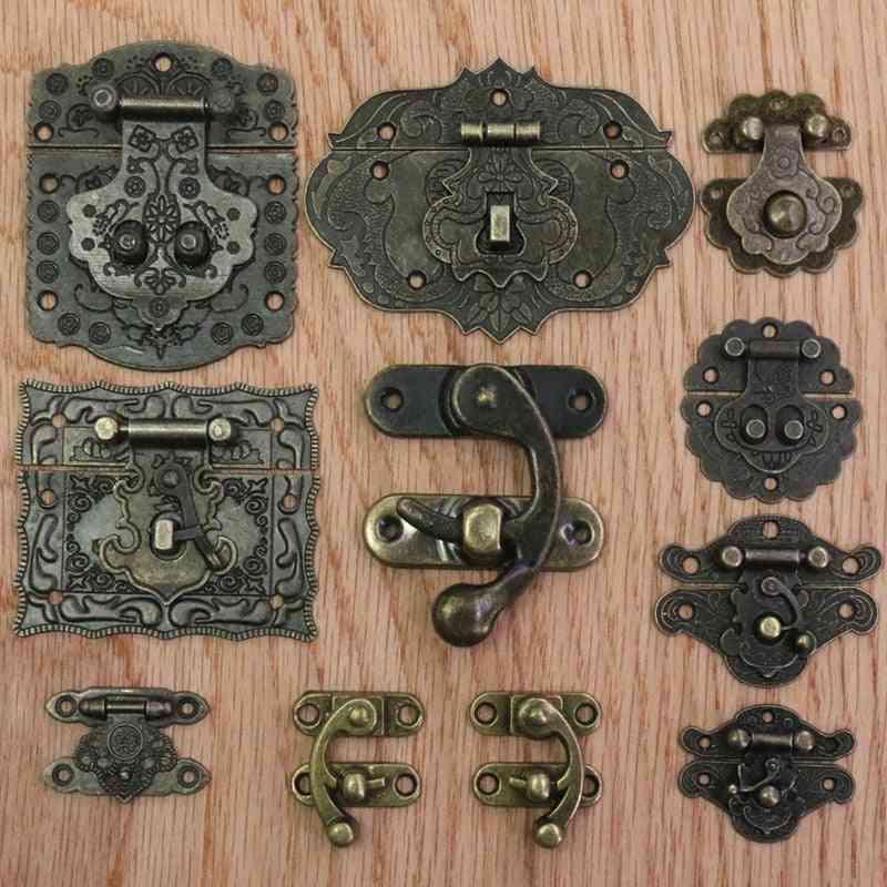 Antique Jewelry Box, Wooden Wine Cases Hasps, Latch Vintage Decor, Suitcase Buckle Hasp