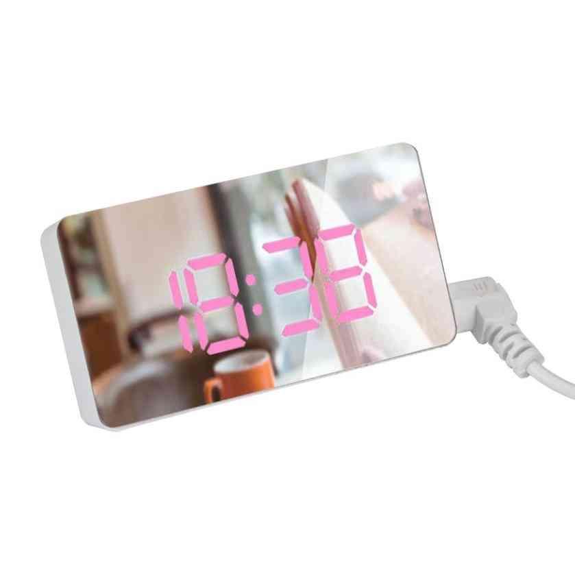 Led Mirror Mini Digital Alarm Clock, Table Electronic Time, Temperature, Date Display, Home Decoration Digital
