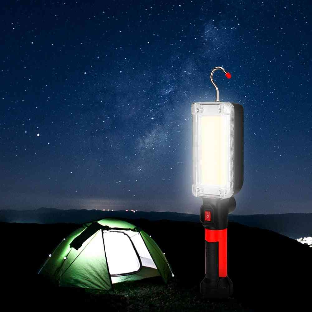 Lumens Flashlight- Usb Rechargeable Cob Light With Magnet Hook, Camping Tents, Led Torch