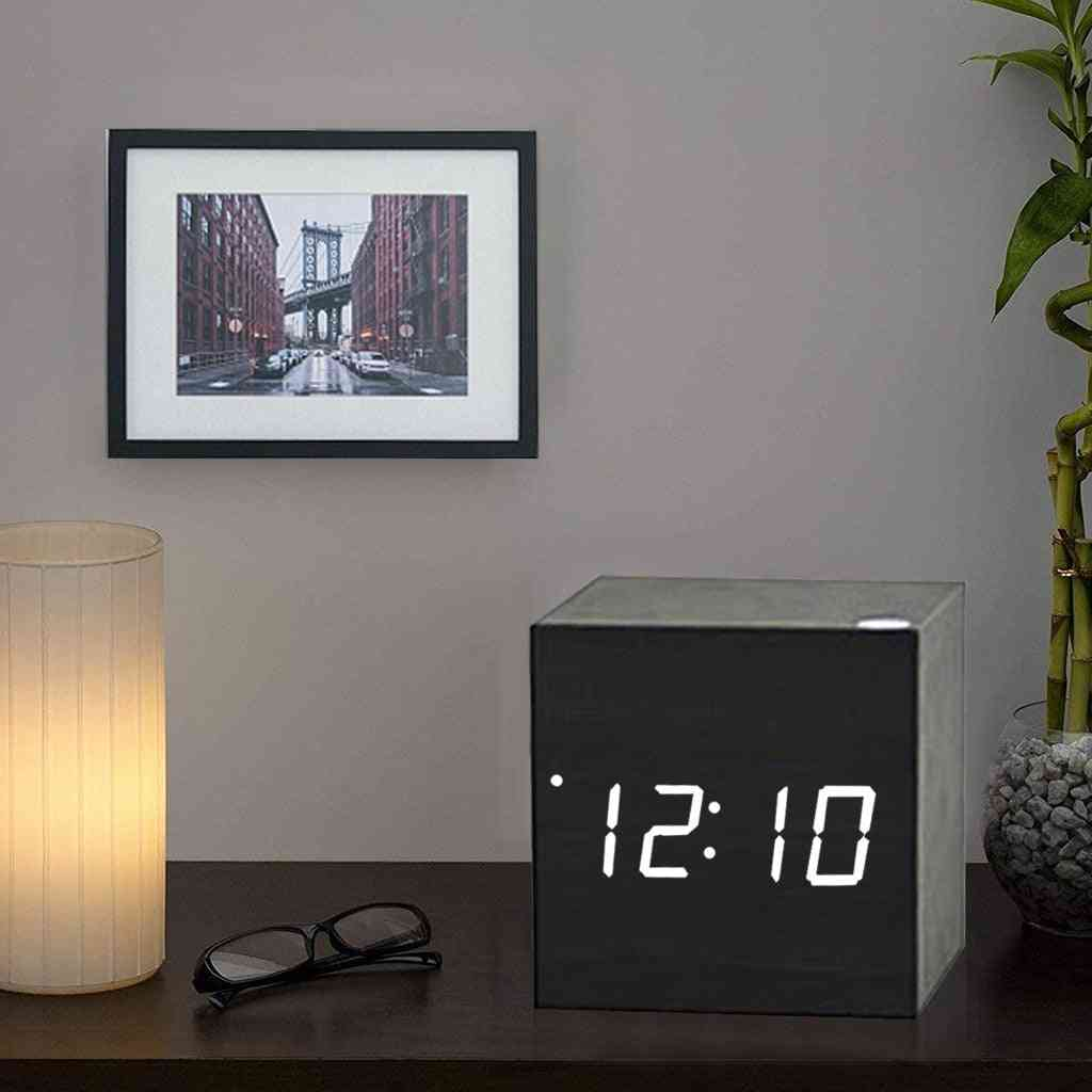 Creative Voice Control Led Clock, Luminous Square, Wooden, Alarm Silent, Temperature