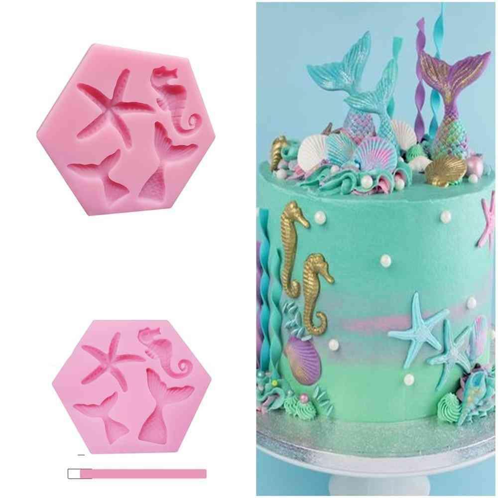 Mini Mermaid Tail Starfish Silicone Fondant Chocolate Cake Mold