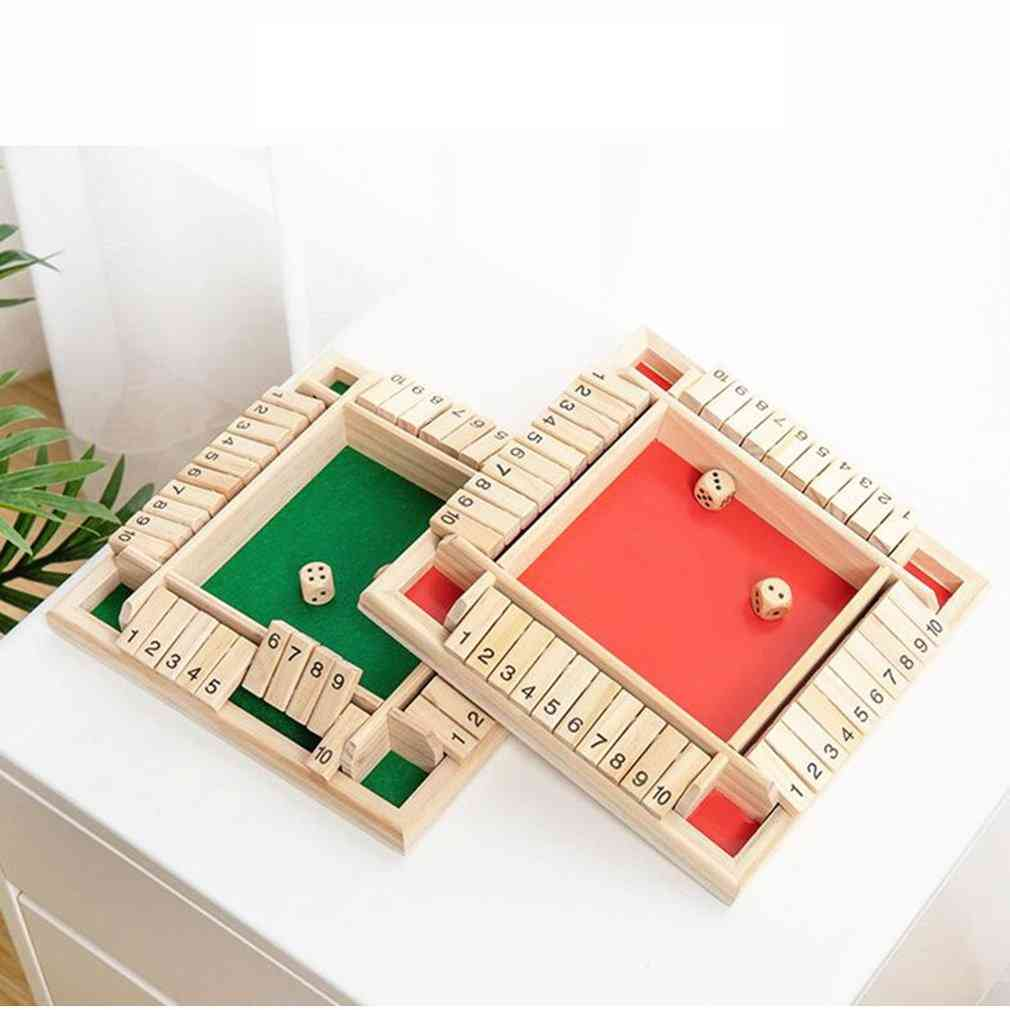 Four Sided Wooden Traditional Pub Board Dice Game