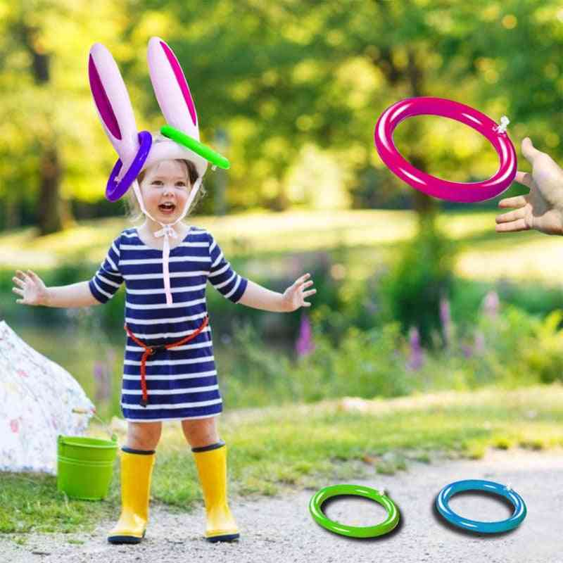 Inflatable Easter Bunny Ears Hat And Ring-toss Party Game