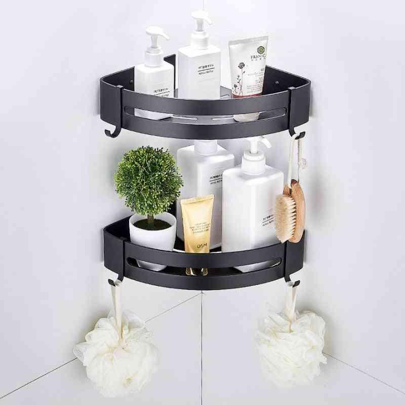 Bathroom Corner Shelves Shower Bath Shampoo Storage Rack Wall Aluminum Basket Holder Kitchen Accessories