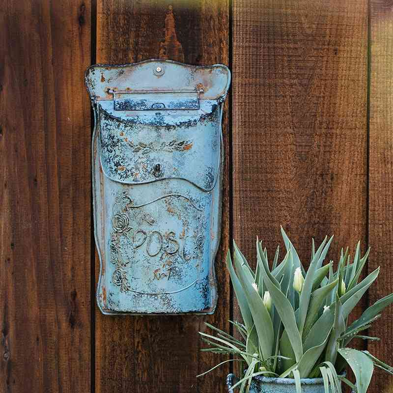 Iron Mailbox, Pastoral Lockable Secure Metal Post Box