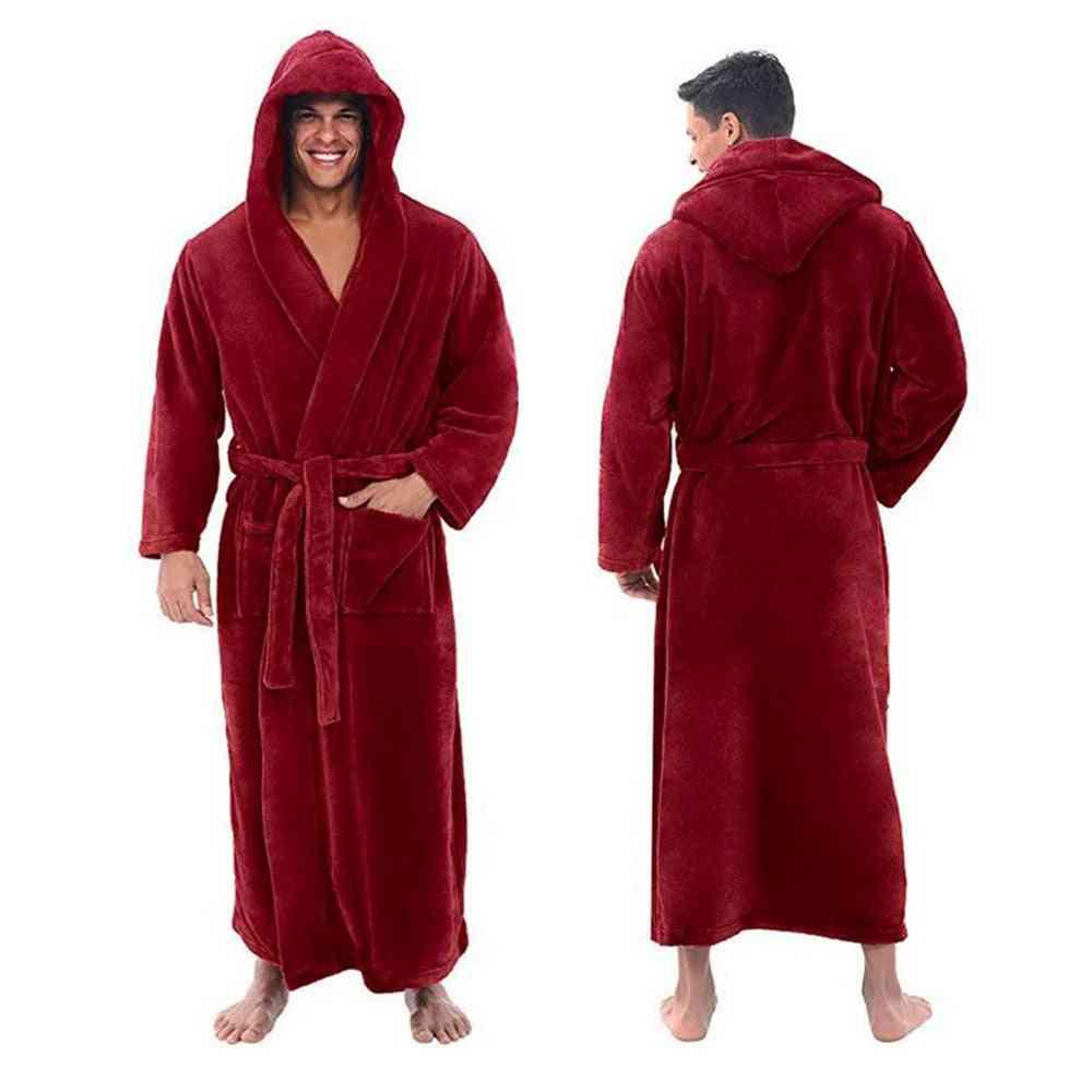 Winter Men Flannel Hooded Thick Casual Winter Autumn Long Kimono Warm Home Sleepwear Pajama Nightgown