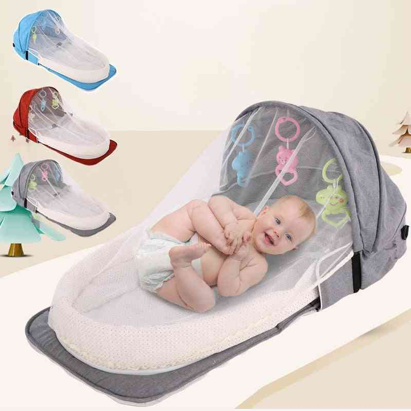 Portable Baby Crib, Newborn Baby Bed, Folding Travel Beds, Nest, Infant Bassinet Cot With, Mosquito Net Cribs For Sleeping