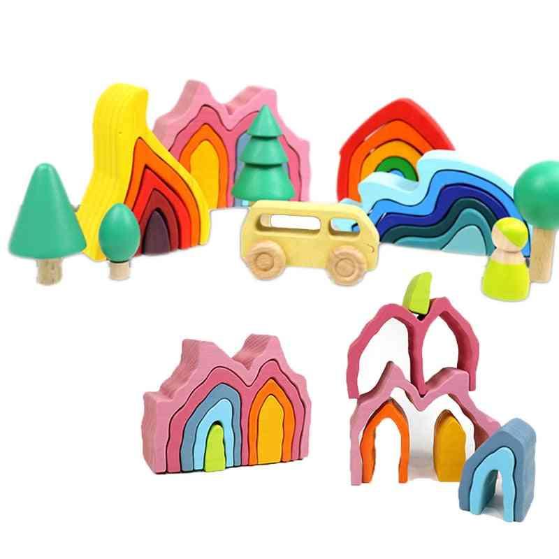 Diy Assembled Building Montessori Wooden Rainbow Block