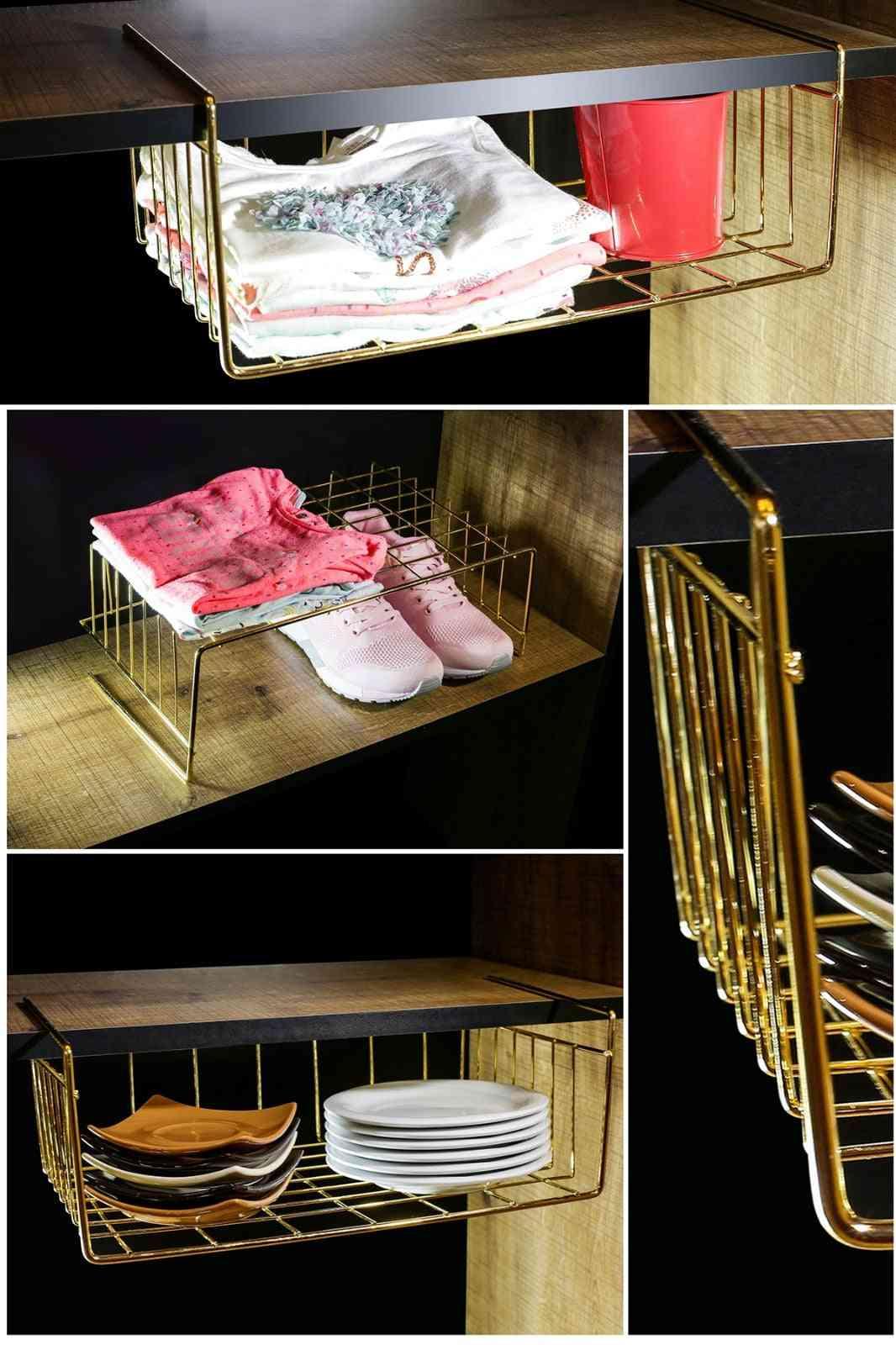 Bottom Hanger Kangaroo Shelf Basket Gold Plated Metal Hanging Organizer For Kitchen Cabinet