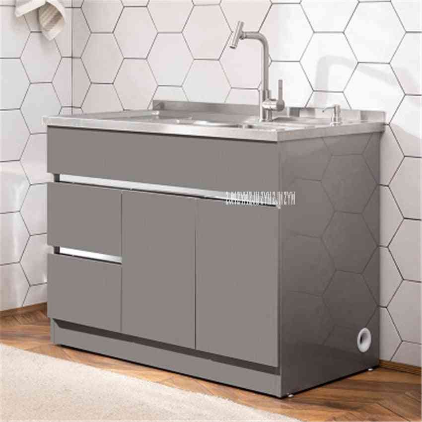 Stainless Steel Cabinet Basin Combination Cabinet With Washboard