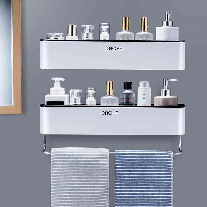 Bathroom Shelf Shower Caddy Organizer - Wall Mount Shampoo Rack With Towel Bar