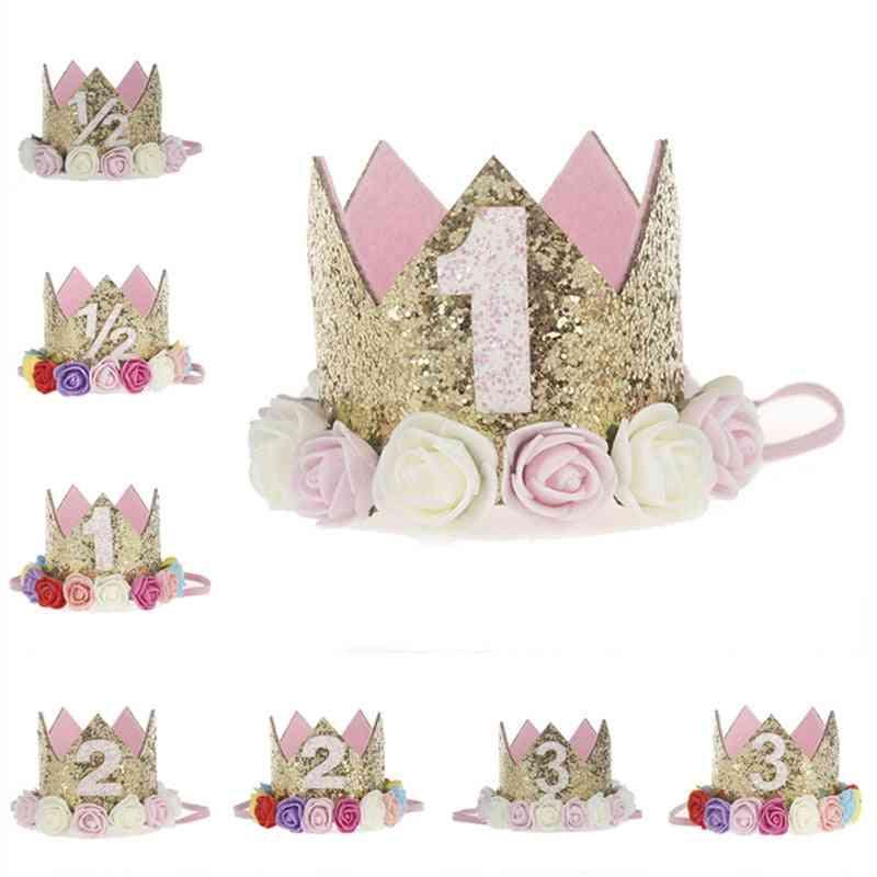 Mini Felt Glitter Crown With Flower Headband