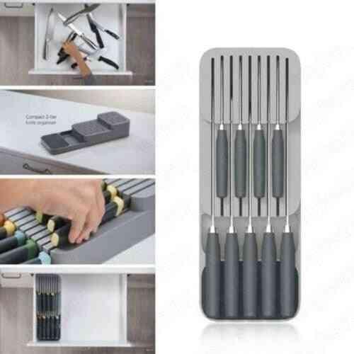 Plastic Knife Block Holder, Drawer Forks Spoon Storage Rack