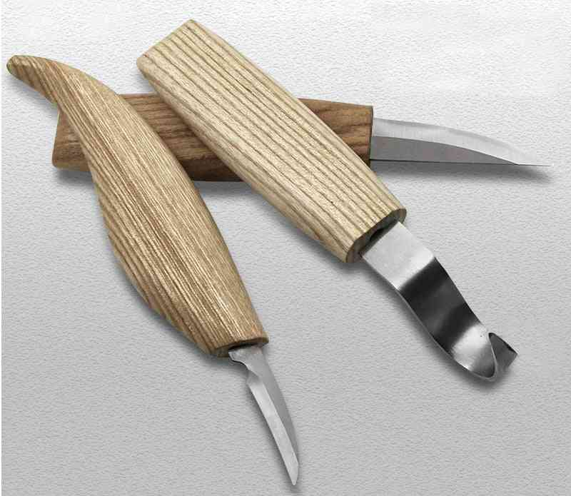 Wood Carving Cutter Hand Tool Set, Chisel Diy Wood Knife Chip Knives, High Strength Hooked Woodcut, Art Craft