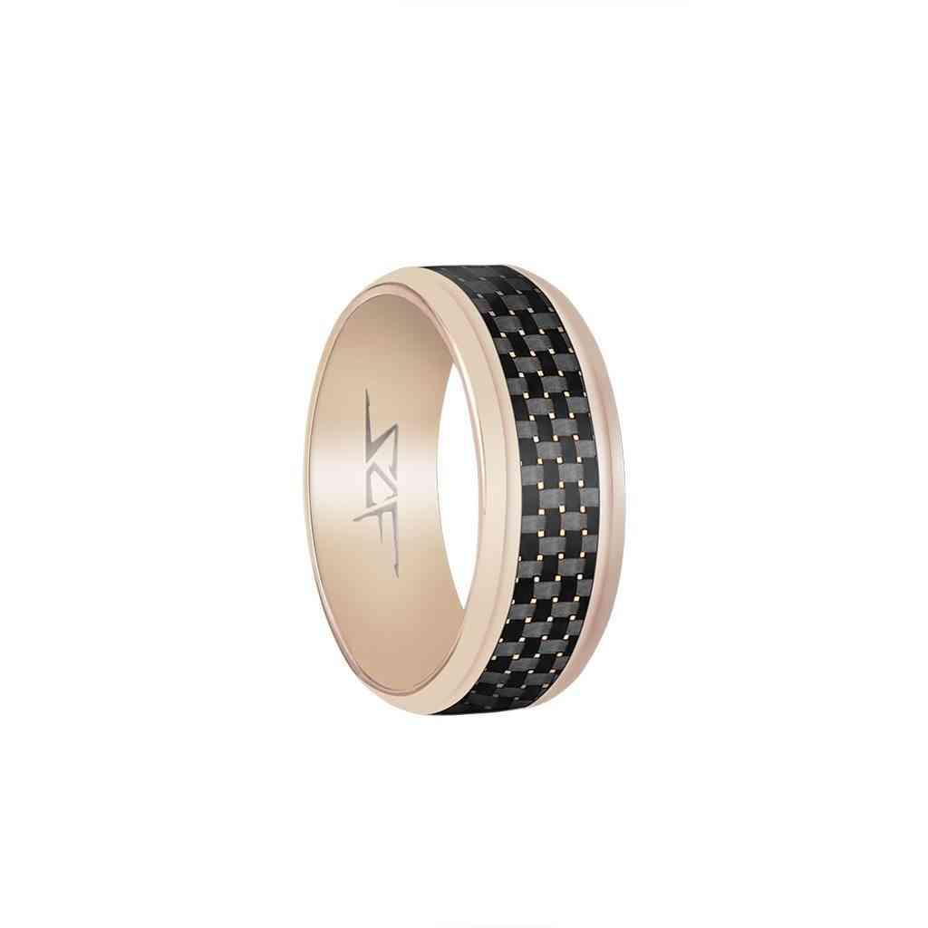 ?slate? Real Carbon Fiber Ring (rose Gold)
