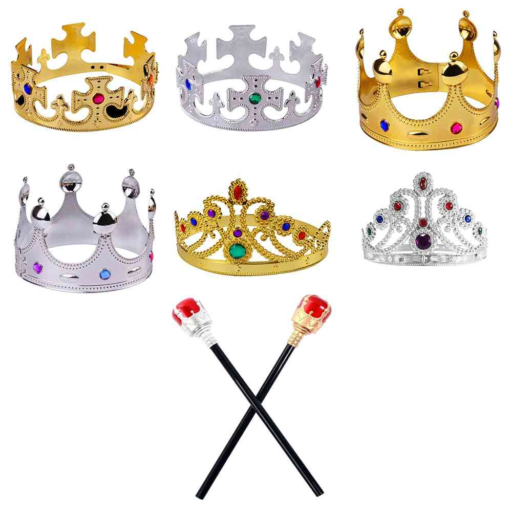 Happy Birthday Party Decoration Royal King Queen Plastic Crown