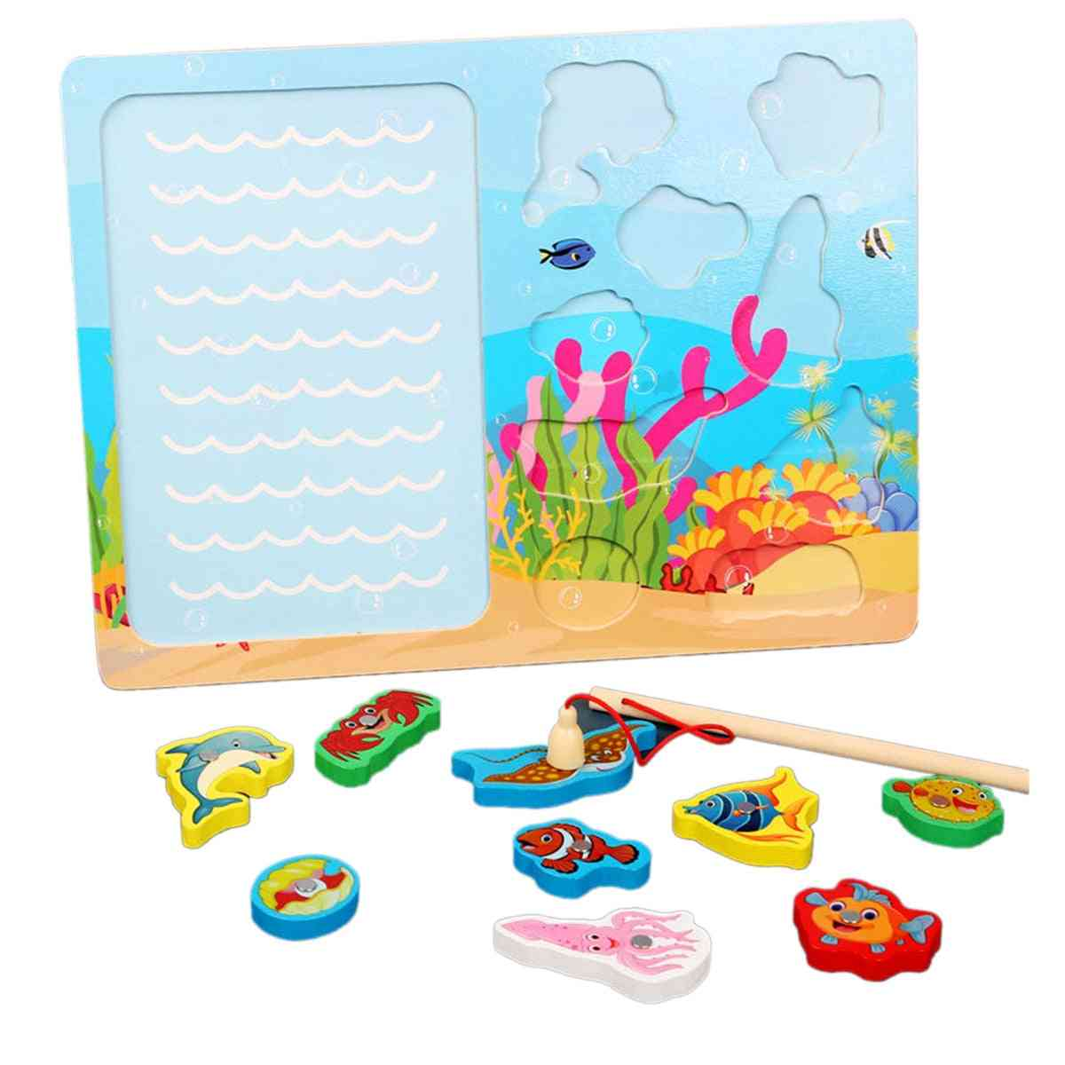 Wooden Magnetic Ocean Fishing Toy Game