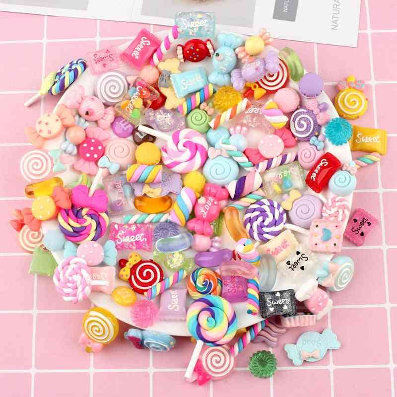 100pcs Diy Crystal Slime Supplies Phone Case Decoration Colorful Candy Resin