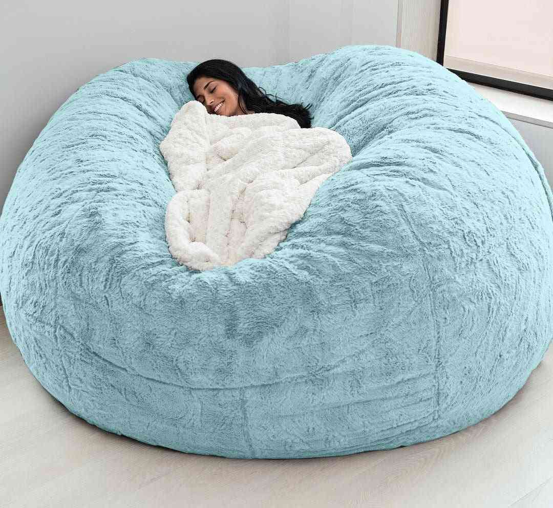 Soft Bean Bag Sofa Covers Living Room Furniture Party Leisure Giant Big Round Fluffy Faux Cushion