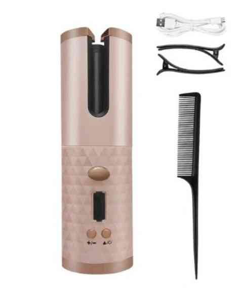 Cordless Automatic Hair Curler Usb Rechargeable Curling Iron Waves, Lcd Display/wave Styer