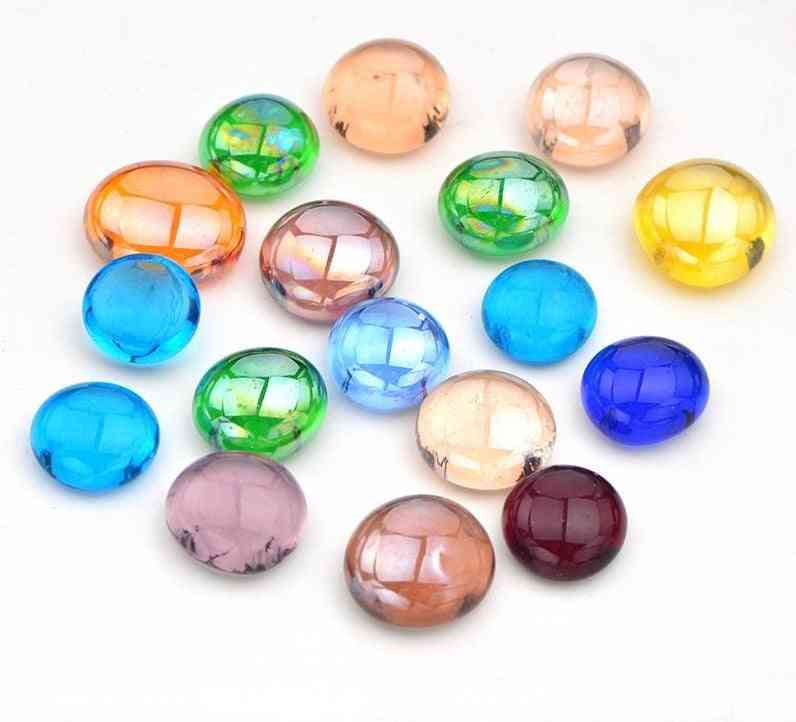Mix-color Glass Mosaic Tiles, Stones Round Cabochons, Beads Making For Home Decoration