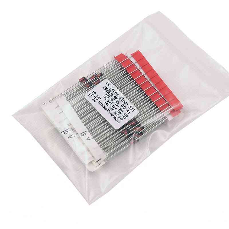 14values*10pcs=140pcs 1w Zener Diode Kit Do-41 3.3v-30v Component Diy Kit