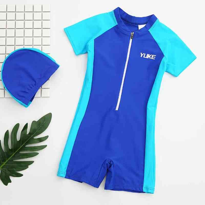 Children Swimsuit One Pieces Swimwear Sunscreen Beach Suit Short Sleeved Shorts