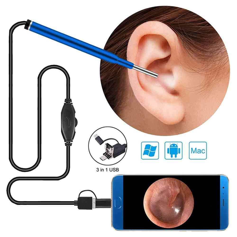 Ear Borescope, Medical Endoscope Camera,  Waterproof Usb Inspection For Otg Android Phone, Pc