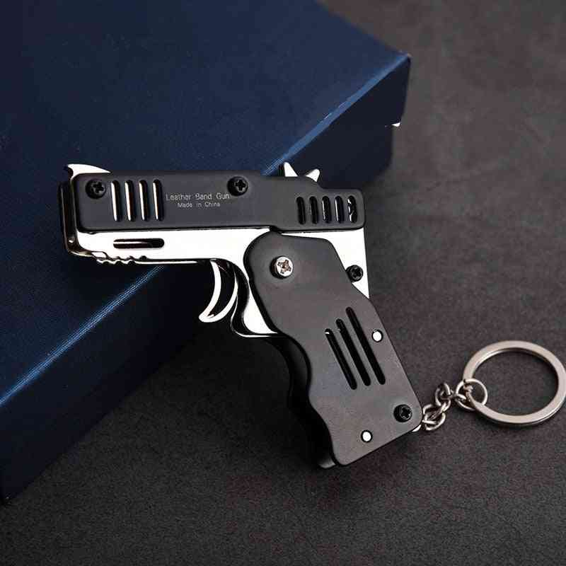 Mini Folding Outdoor Tools Key Chain Rubber Band Gun Six Bursts Made All Metal Shooting Toy