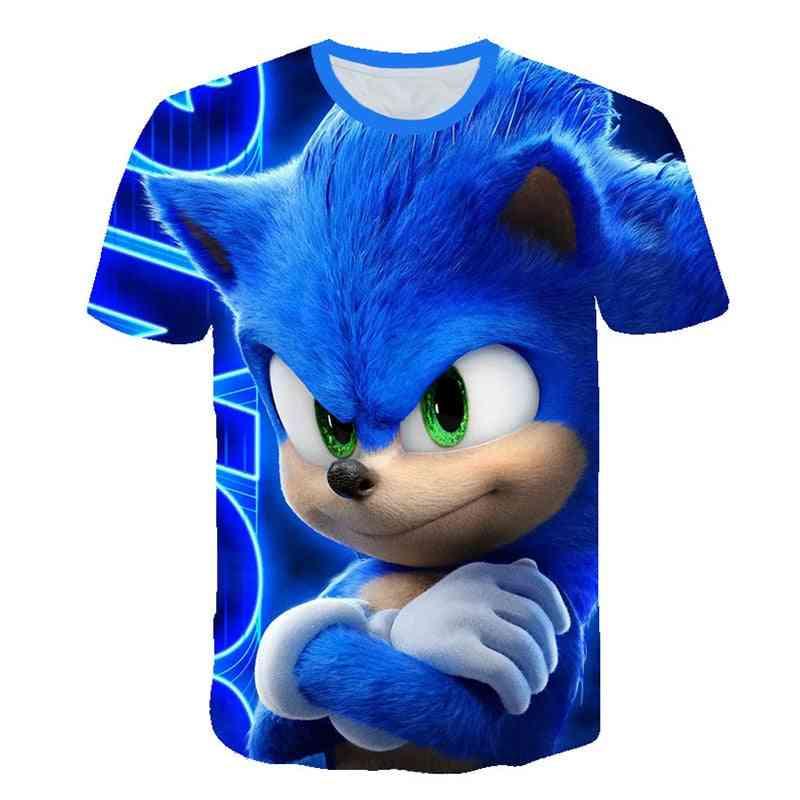 Children's Cartoon Anime Blue T Shirt, 3d Printed Shirt Streetwear Clothing