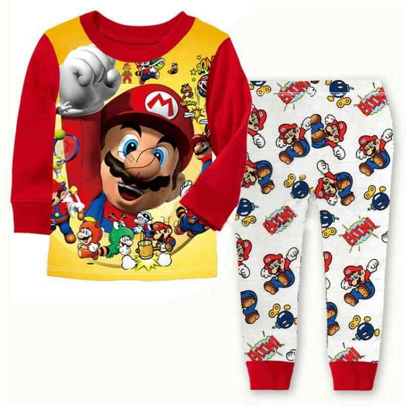 2pcs Cartoon Kids Toddler Super Mario Cotton Sleepwear Nightwear Pajamas Set 1-7 Years