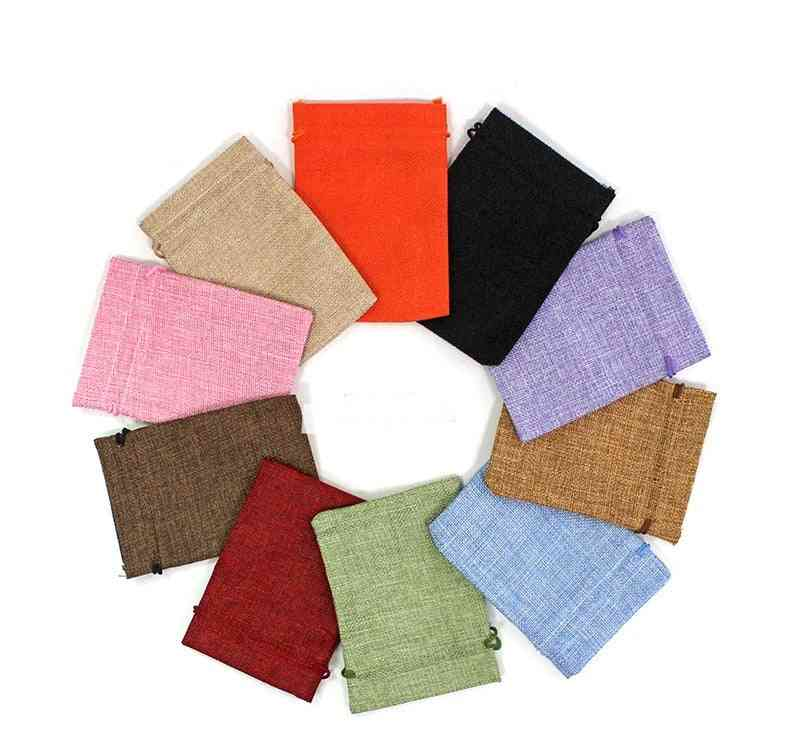 10x14 13x18 50pcs/lot Drawstring Natural Burlap Jute Bags Multi Size Jewelry Packaging Wedding Candy Pouch